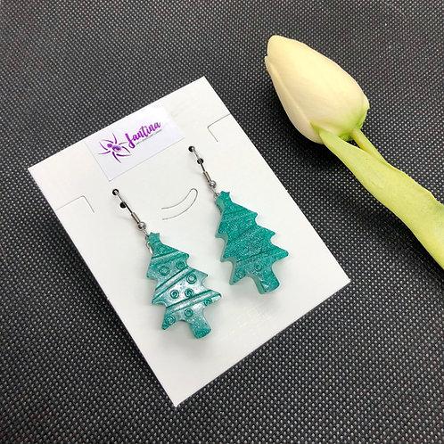 Green Shimmer Christmas Tree Earrings