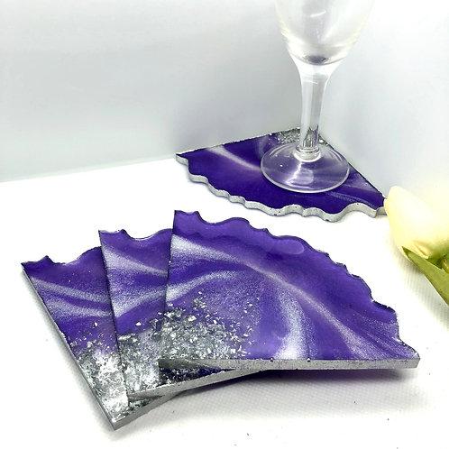 Resin Triangle 4 Coaster Set - Purple/white/silver
