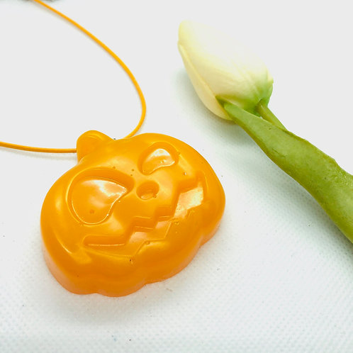 Large Pumpkin with Teeth resin necklace