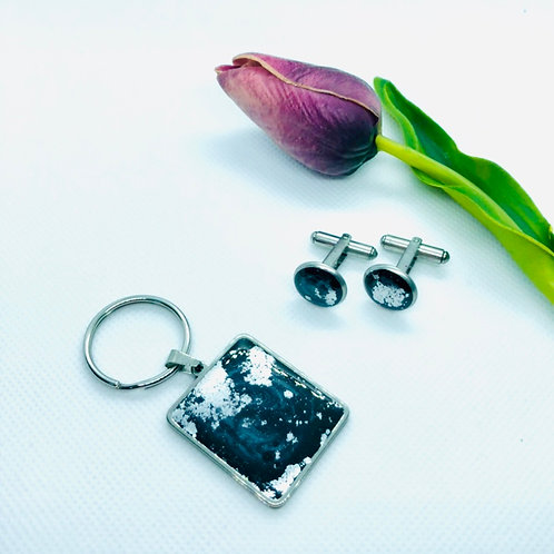 Stainless Steel Key Ring & Cuff Link Set