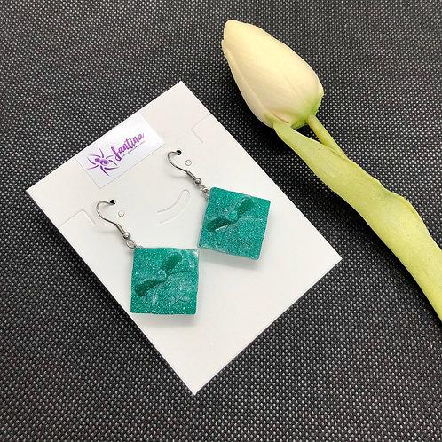 Green Shimmer Christmas Present Earrings