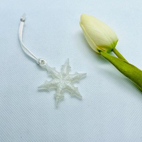 Glitter Small Snowdrop Ornament