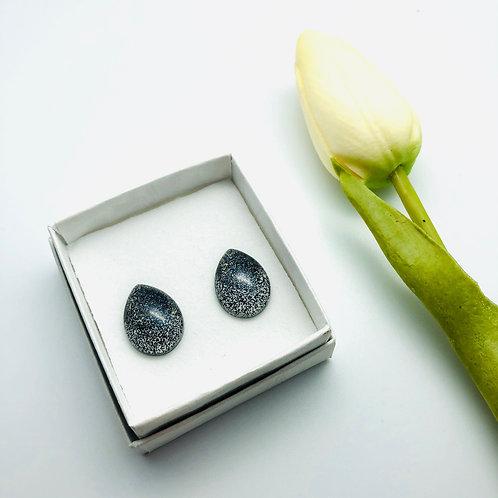 Teardrop Glitter Resin Stud Earring