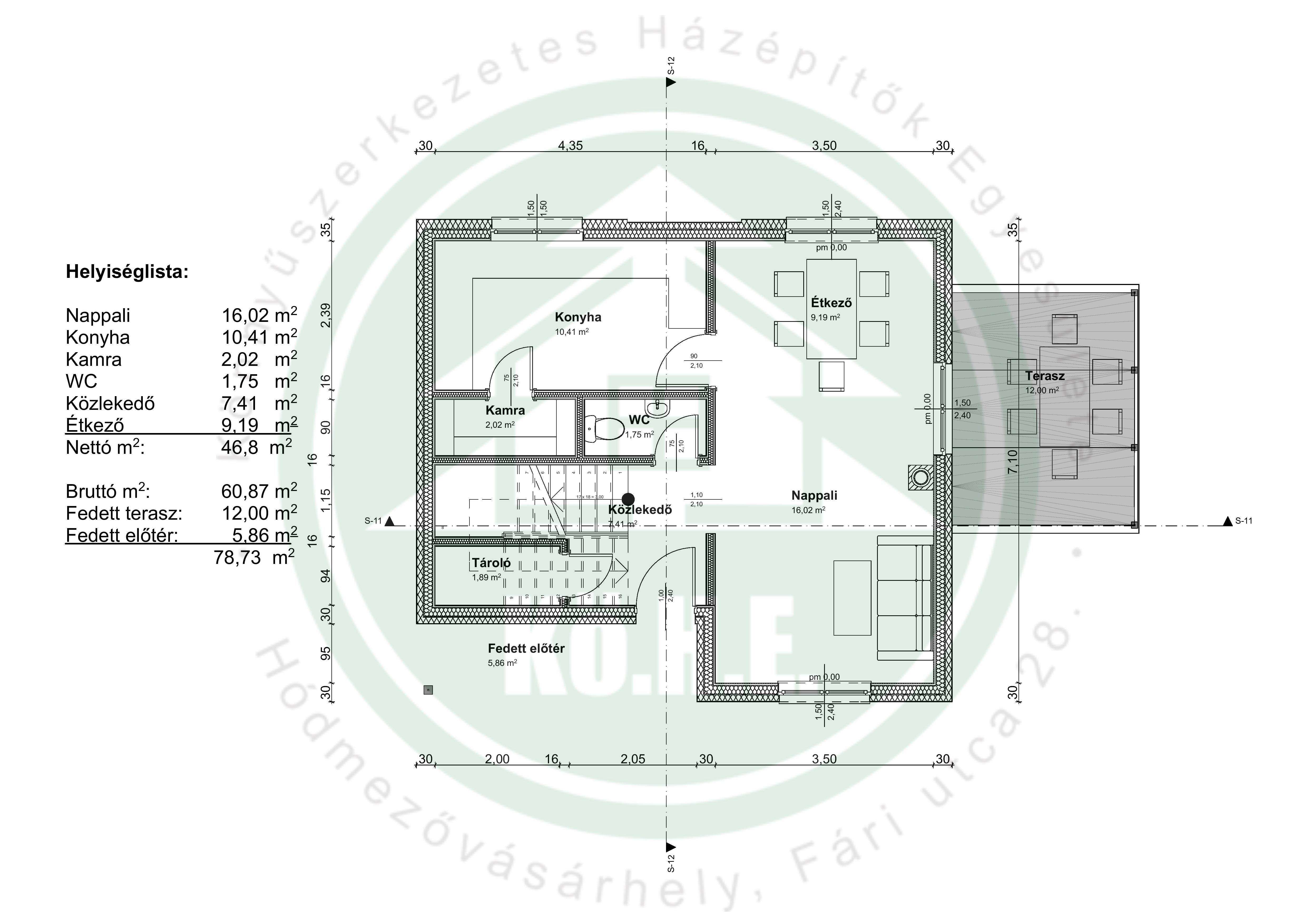 Könnyűszerkezetes ház alaprajz