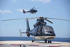 Franck Dorval arrivant à Monaco en hélicoptère