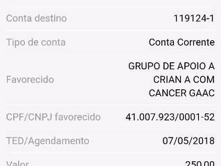 Prestação de Contas - Parceria GACC - Abril/2018