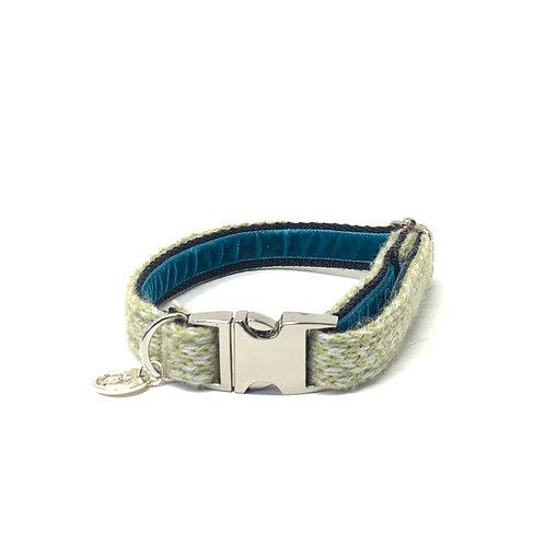 Handmade Dog Collar - Green & Dove - Harris Design