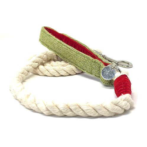 Handmade Rope Lead - Green Sparkle - Sample Sale