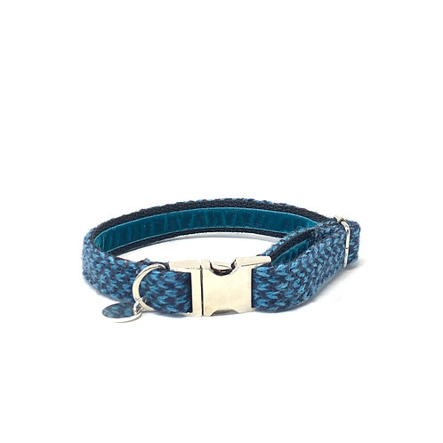 Handmade Dog Collar - Blue & Navy - Harris Design