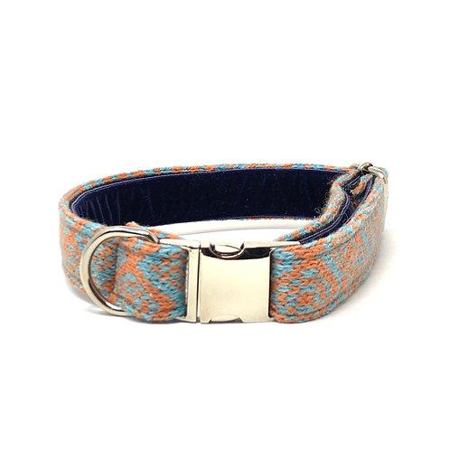 Handmade Dog Collar - Orange & Turquoise - Barclay Design