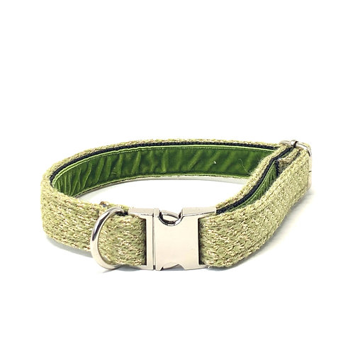 Handmade Dog Collar - Green & Gold - Harris design