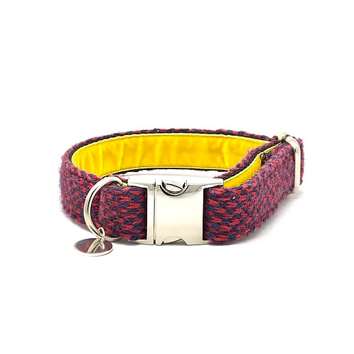 Red & Navy - Harris Design - Dog Collar