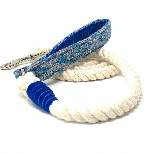 Handmade Rope Lead - Grey & Blue - Barclay Design