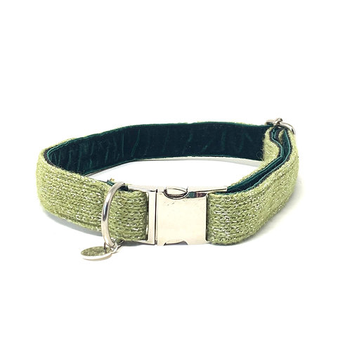 Handmade Dog Collar - Green Sparkles - Sample Sale
