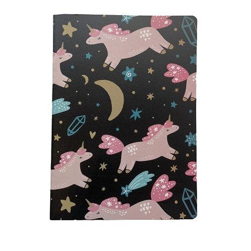 Uniplus Notebook Black Unicorn With Moon (25cm x 18cm)