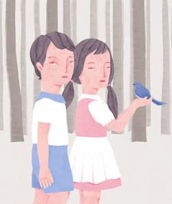 装画コンペ応募作品「青い鳥」