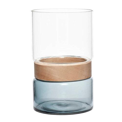 Vase verre/bois