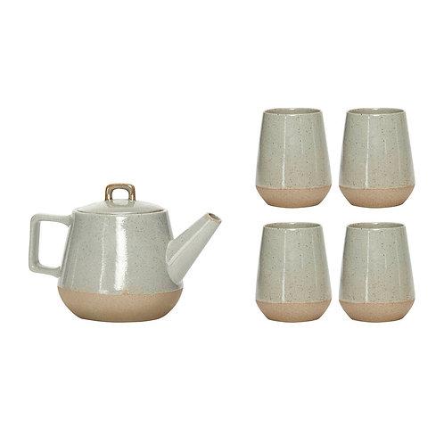 Théière avec 4 tasses, céramique