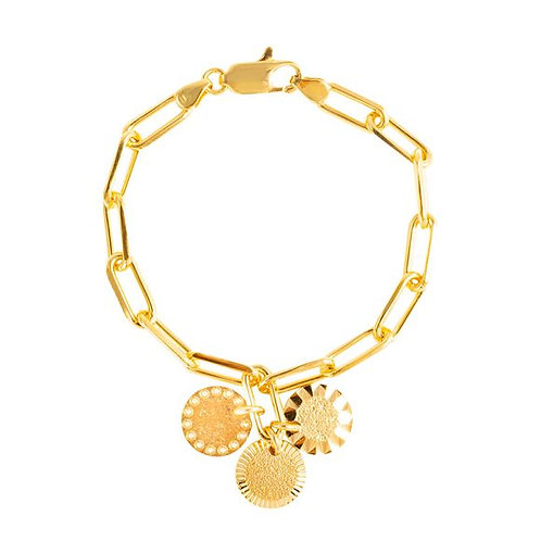 Bracelet Chaîne 3 motifs Lune Soleil Mars