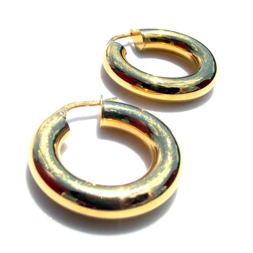 18 Karat Gold Hoop Earrings Stamped 18k Milor Italy 1 0 Inch Length Total Weight 3 Grams Pre Owned Excellent Condition