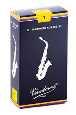 Cañas Vandoren 2 1/2 y 3 para saxofón alto modelo tradicional