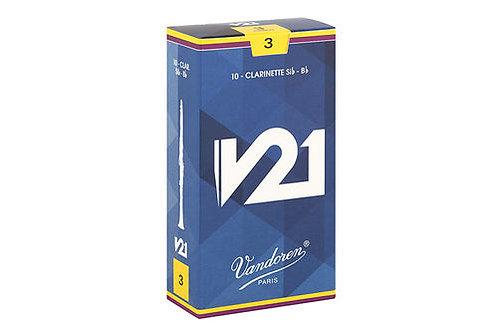 Cañas Vandoren número 3 y 3 1/2 para Clarinete Bb, modelo V 21