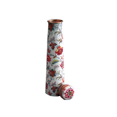 Slim Copper Bottle-White & Red Floral