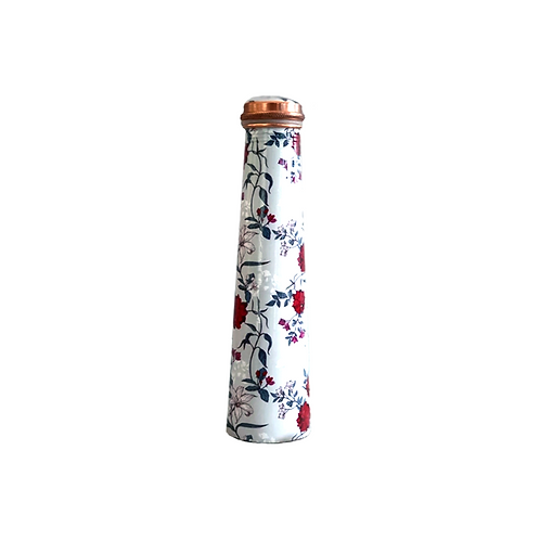 Slim Copper Bottle- Grey & Red Floral