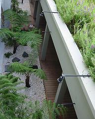 vue plongeante sur le jardin japonisant réalisé dans le cadre de la construction de deux villas à Bali par TNT Architecture