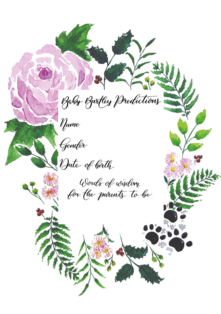 Floral Baby Predictions Card