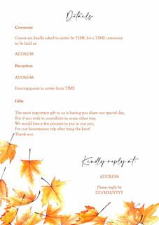 Autumn Leaf Invite Page 2