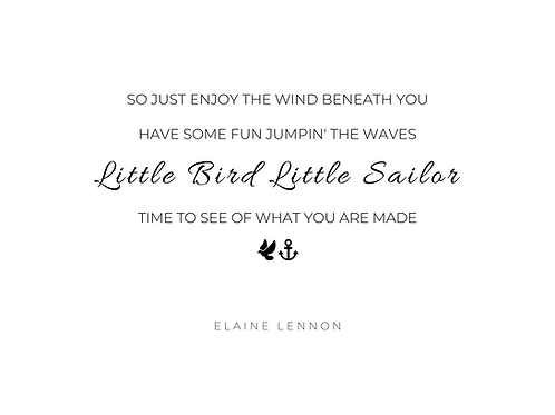 PDF Download Lyric Quote - Little Bird Little Sailor, Black on White