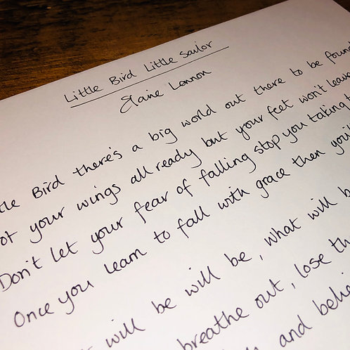Hand Written Lyric - One song of your choice from the album