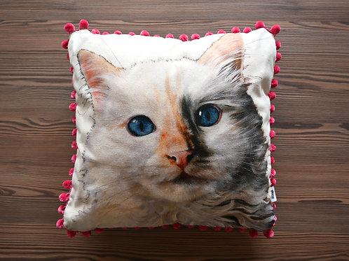 Behind Blue Eyes Cat Cushion