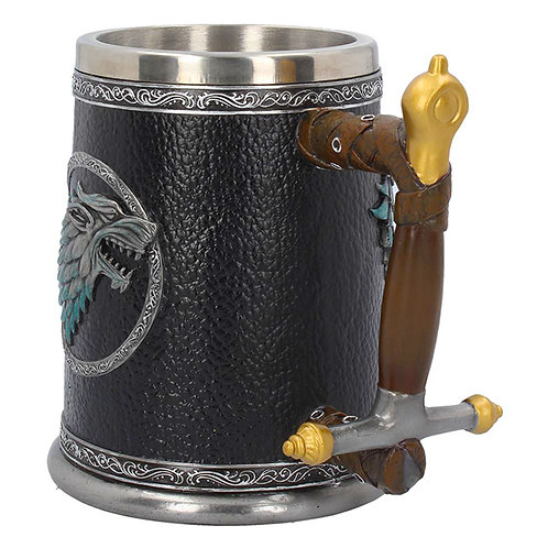 Official HBO Game of Thrones Winter is Coming Tankard Direwolf head on one side and Stark Motto on the other side in silver