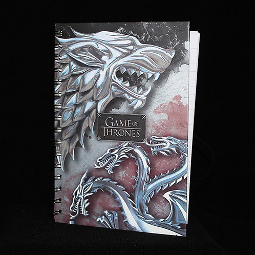 A5 Wiro Notebook Stark and Targaryen, Officially Licenced HBO Game of Thrones Merchandise, Ultimyth lined journal