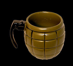 Grenade cup, ceramic mug, mug in the shape of a grenade, army mug