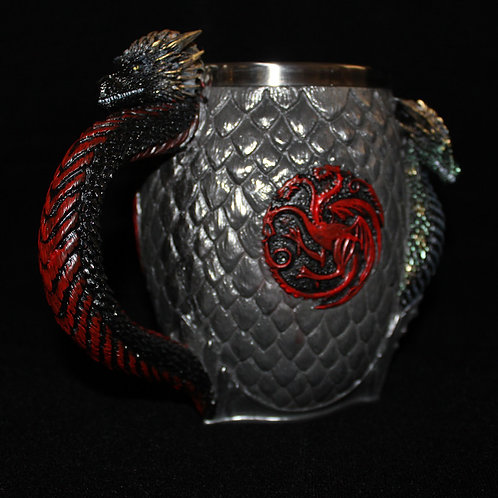 Targaryen Tankard Officially Licenced HBO Game of Thrones Merchandise, Egg tankard with dragon handle, Targaryen Sigil