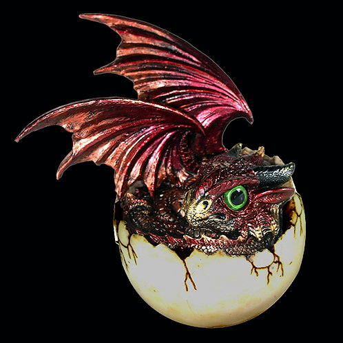 Goald red and gold dragon about to emerge from the egg
