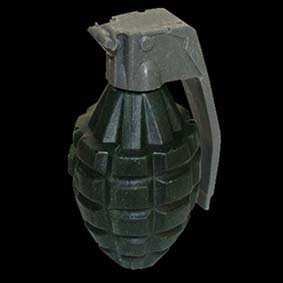 Prop Grenade made from foam or urethane rubber for acting scenes on stage or camera