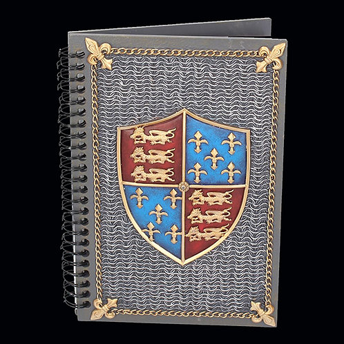 Medieval Journal Coat of Arms chainmail gold chain border and fleur de ley in each corner