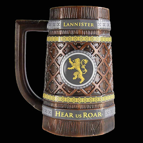 Official HBO Game of Thrones Lannister drinking stein House lannister sigil lion and house words Hear me Roar on both sides