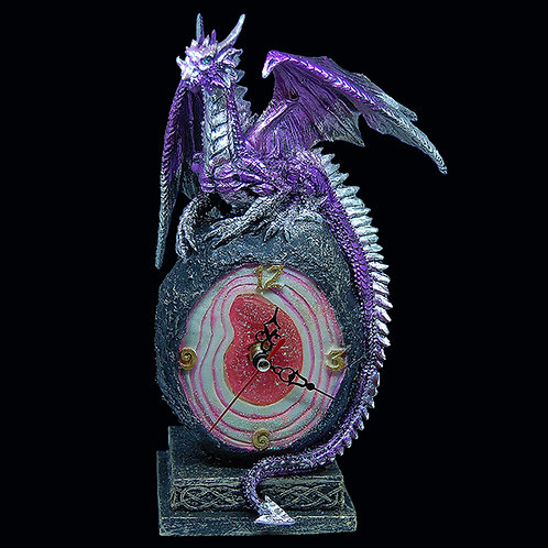 Amethyst Crystal Core Clock hand painted gothic clock requires 1 x AA battery