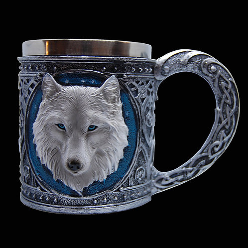 Ghost wolf tankard bright blue eyes and fur as white as snow