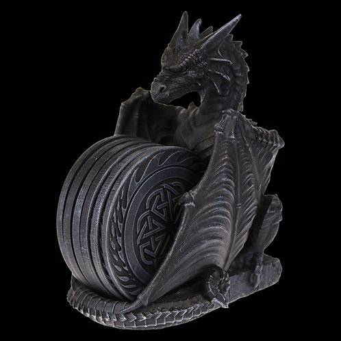 Dragons Lair Coaster Set Heavy with a dragon design and 6 coasters with a Celtic design