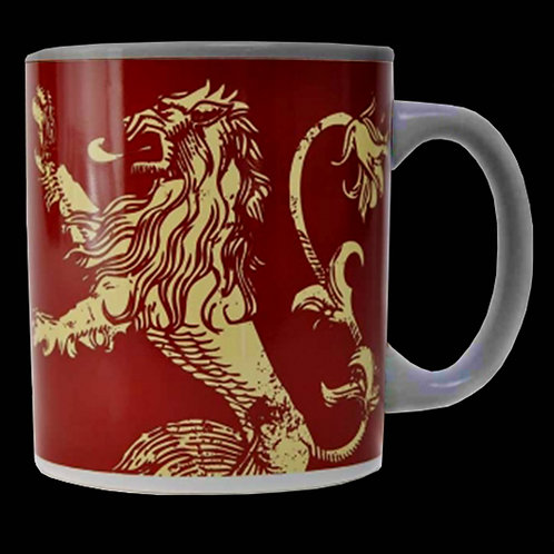 Official HBO Game of Thrones boxed mug House Lannister Sigil Golden Lion on a Red background