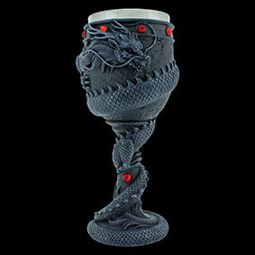 Dragon Coil Goblet black goblet with a dragon wrapped from top to bottom with red gems a the top am in the middle