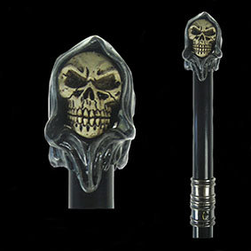 Reaper Swagger Cane two faced hooded skull swagger stick