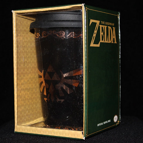 The Legend of Zelda Ceramic Travel Mug, Officially Licenced Nintendo, Triforce, Courage, Wisdom, Power, Link, Master Sword