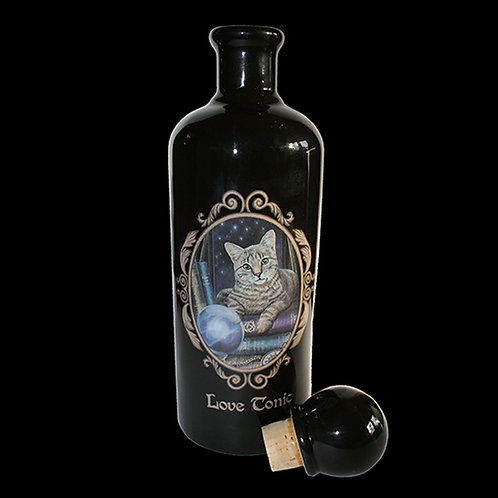Love Tonic Bottle black ceramic bottle with a cat lay on books and Love tonic printed on one side